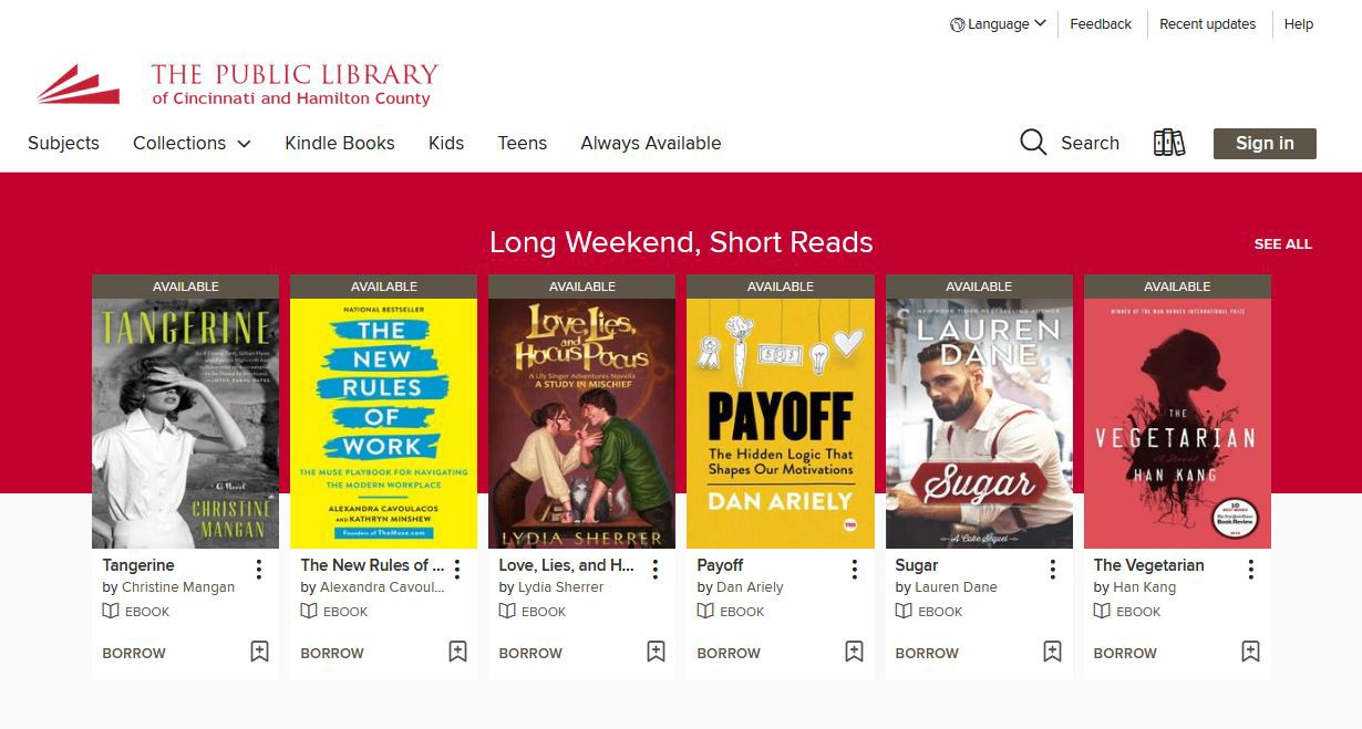 A screenshot of the Cincinnati Public Library eBranch homepage shows covers of featured books