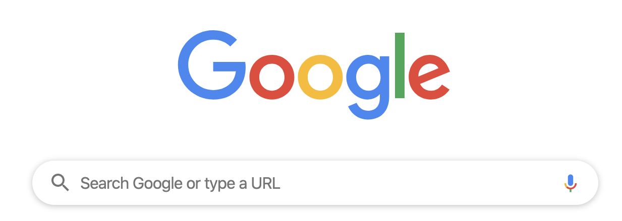 """Messaging in Google's search bar reading, """"Search Google or type a URL"""""""