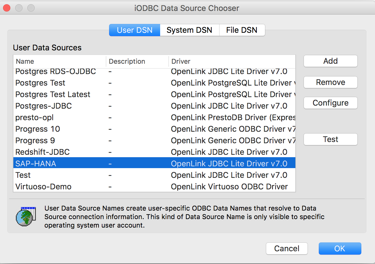 Connecting to SAP HANA via ODBC from macOS - OpenLink ODBC