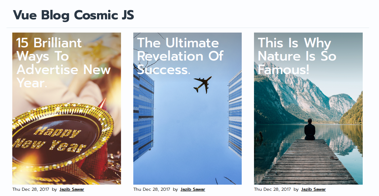 How to Build a Simple Blog using Vue and Cosmic JS + Deploy