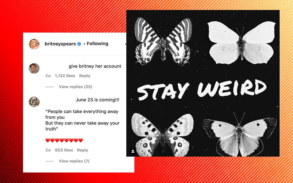 """Screenshot of a post from Britney's feed that says """"Stay Weird"""" with various butterflies, and comments from fans that say """"give Britney her account"""" and reference her next court hearing."""