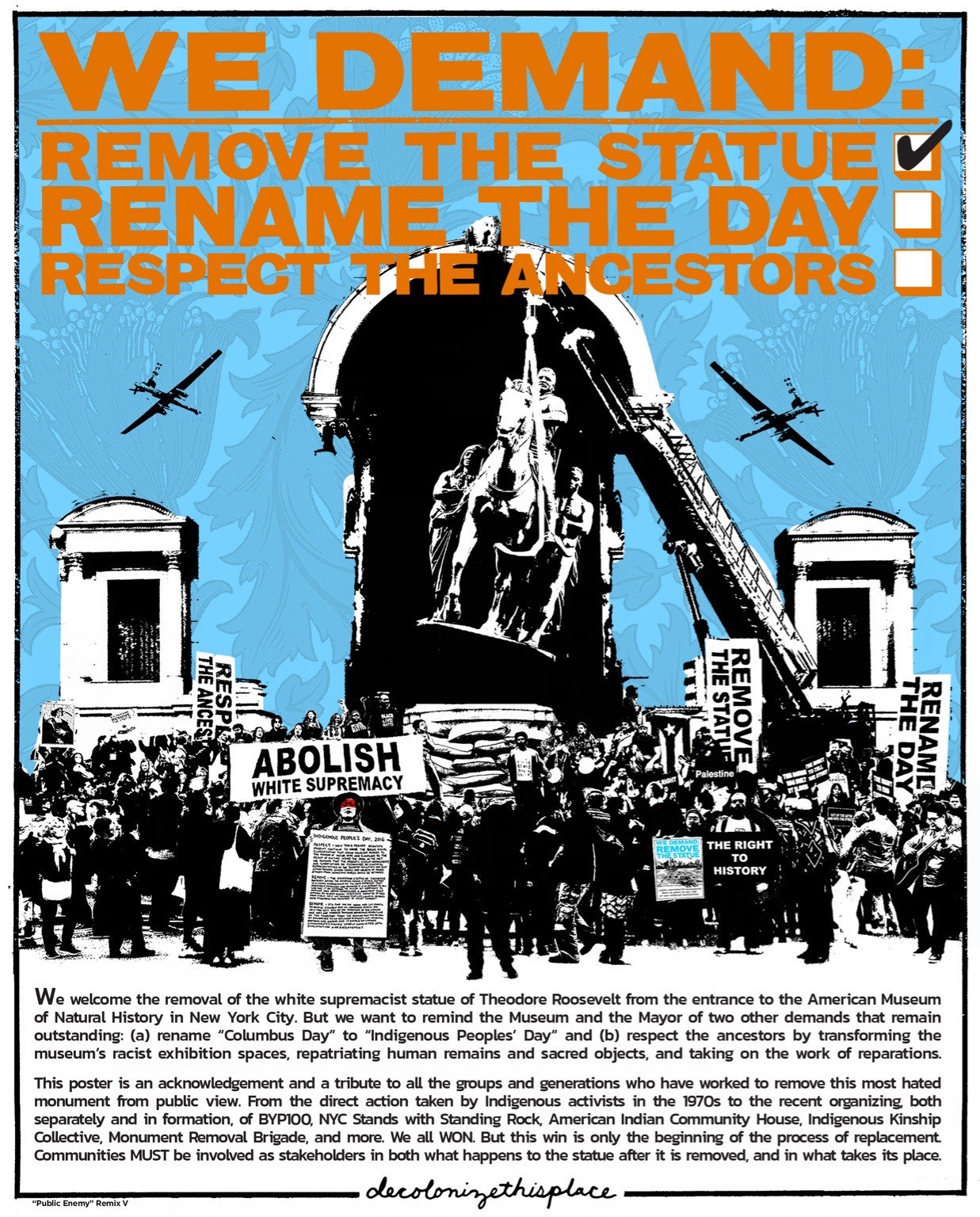 Statement by Decolonize This Place, calling for the recognition of indigenous demands and an end to white supremacy
