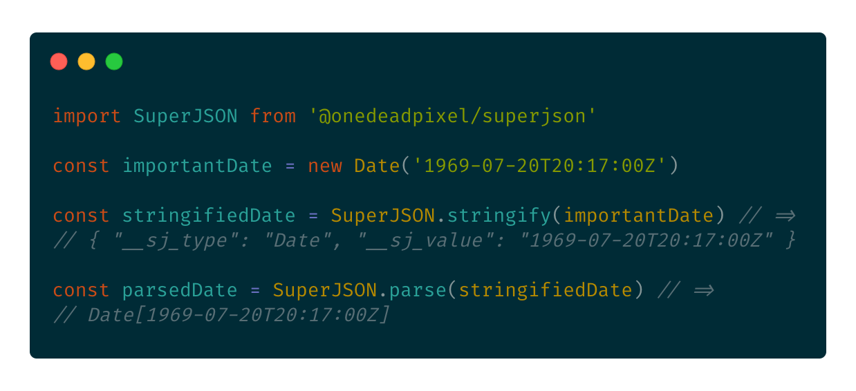 A code example of using SuperJSON to encode and decode a date.