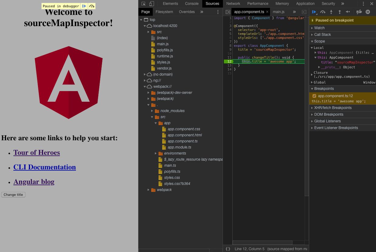 Debug Angular apps in production without revealing source maps
