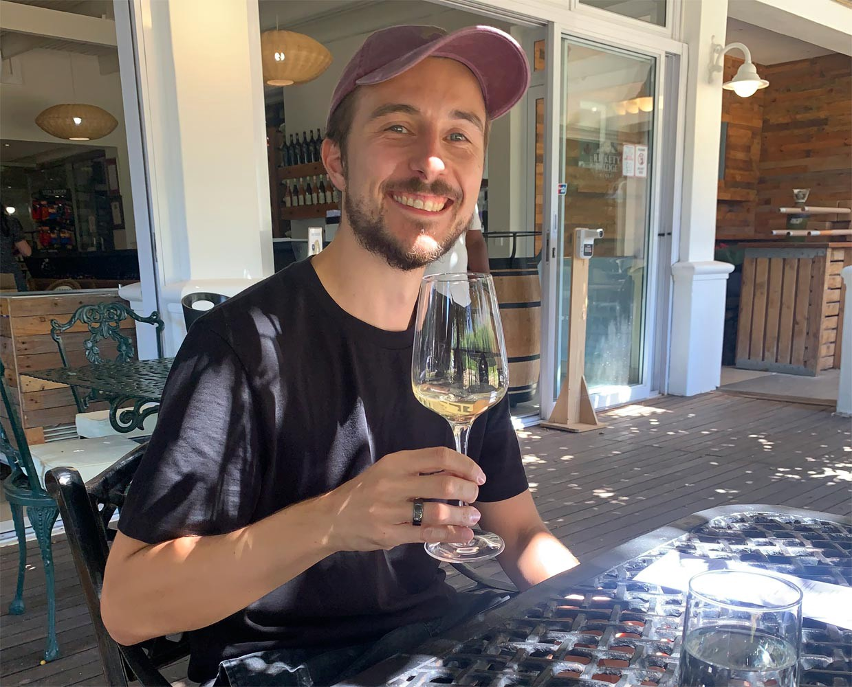 Drinking wine in Cape Town