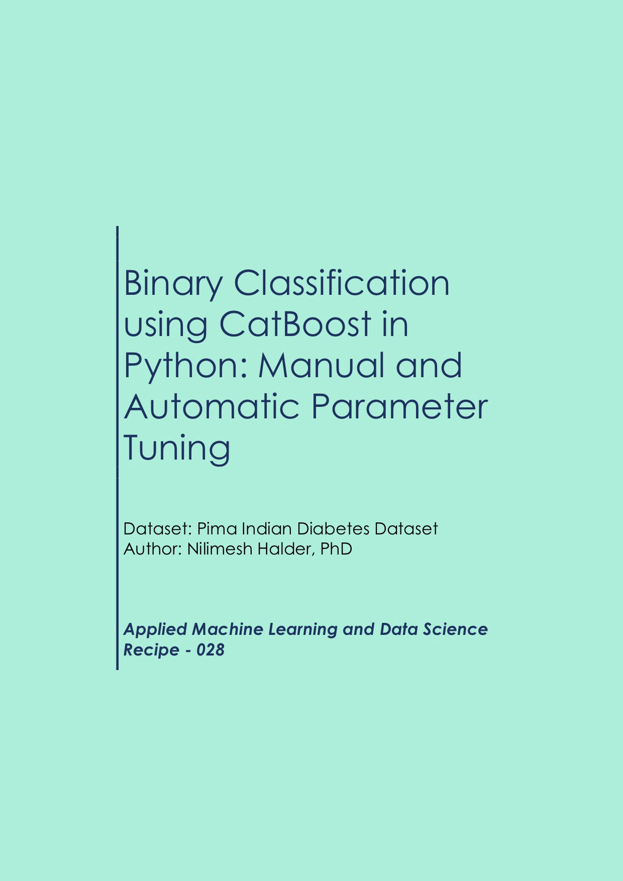 Binary Classification using CatBoost in Python: Manual and