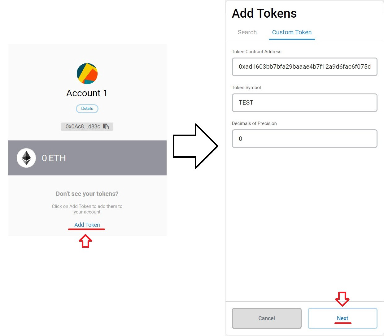 Steps to view the new ERC20 token balance in Metamask