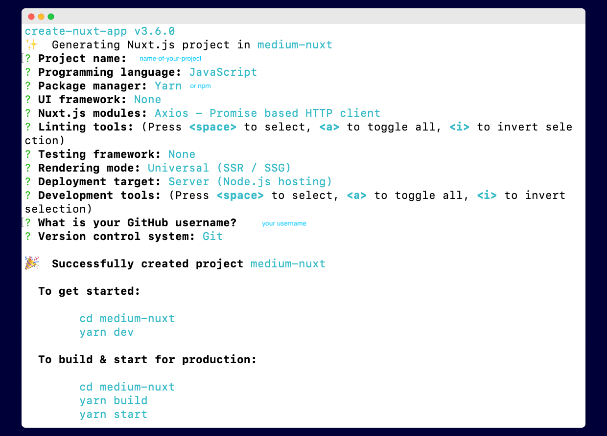 Terminal: project configurations