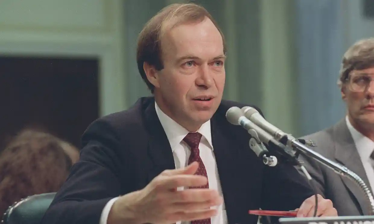 The Guardian. In this May 9, 1989 file photo, Dr. James Hansen, director of NASA's Goddard Institute for Space Studies in New York, testifies before a Senate Transportation subcommittee on Capitol Hill in Washington, D.C., a year after his history-making testimony telling the world that global warming was here and would get worse. Photograph: Dennis Cook/AP