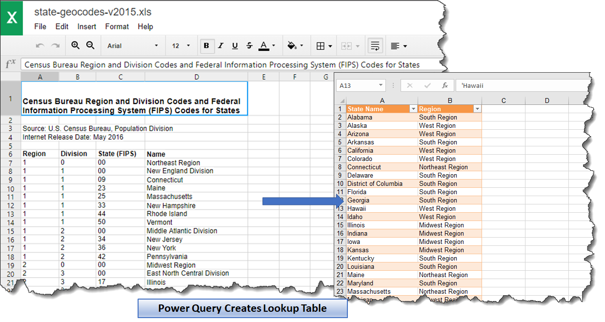 Microsoft Excel: Create a State / Region Lookup Table in 5