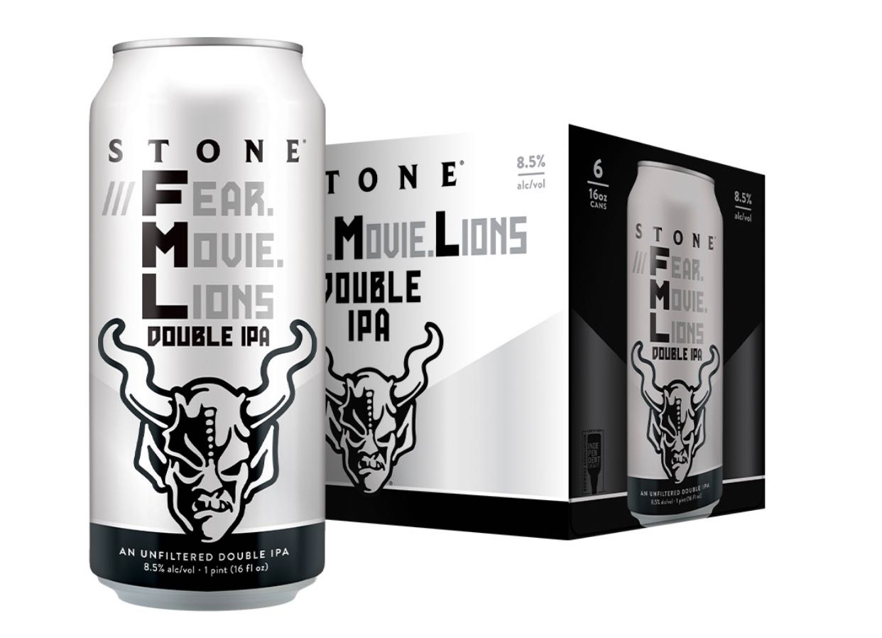 Photo of Stone's Brewing ///Fear.Movie.Lions beer packaging.