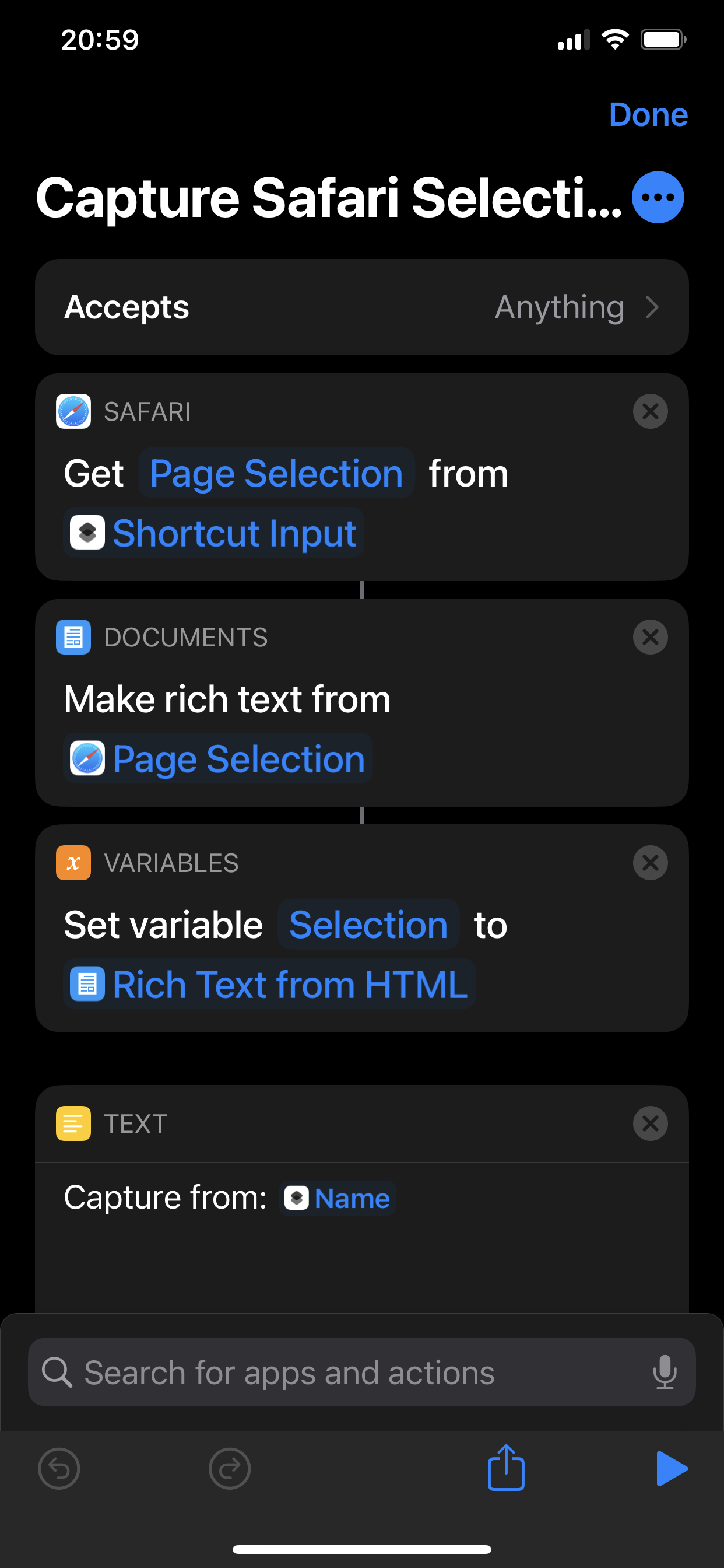 Shortcut Actions — 1