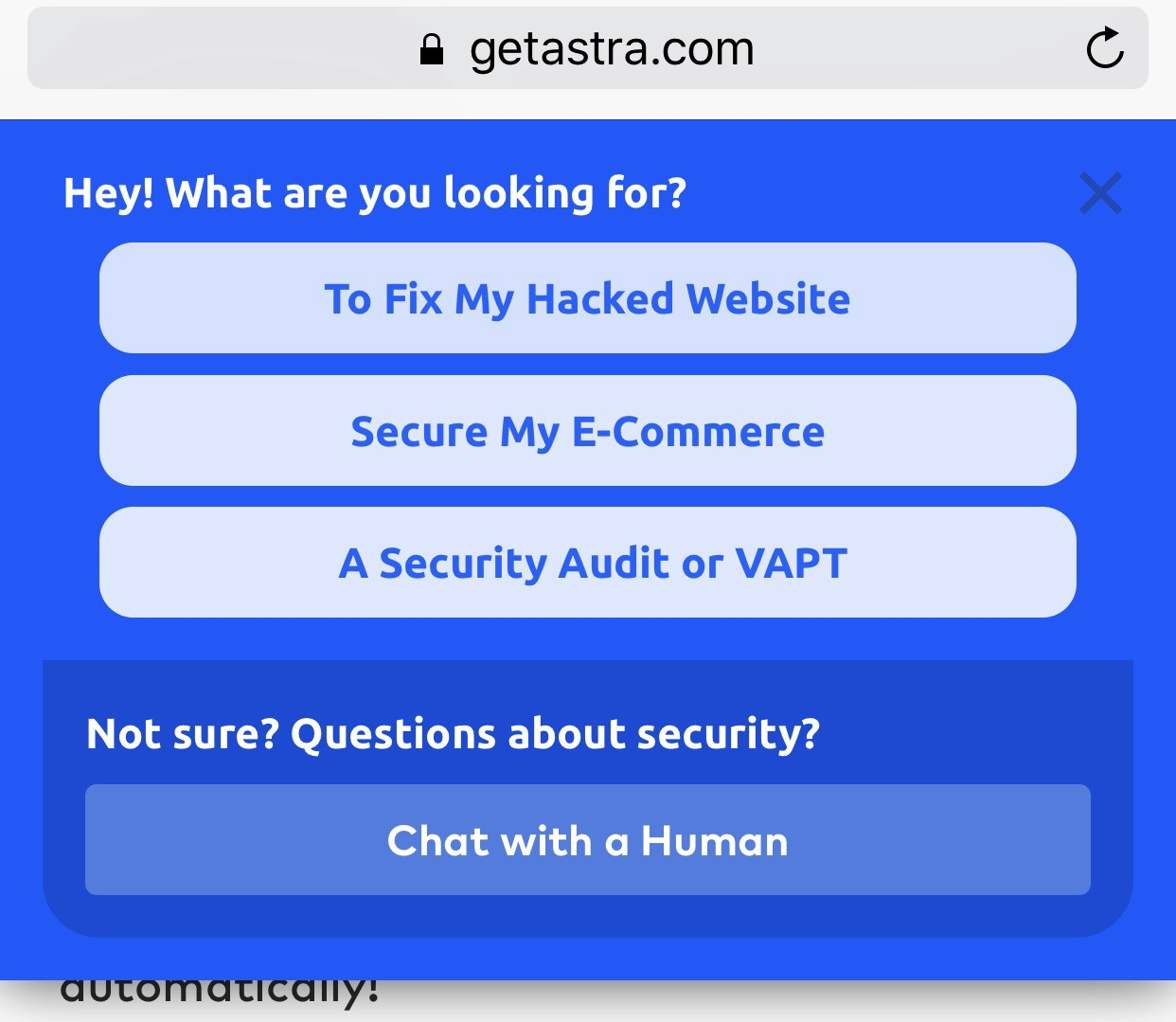Astra Security's pop up on mobile