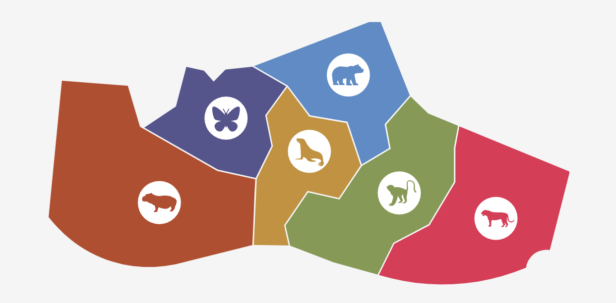SVG map based on the St. Louis Zoo with six distinct zones
