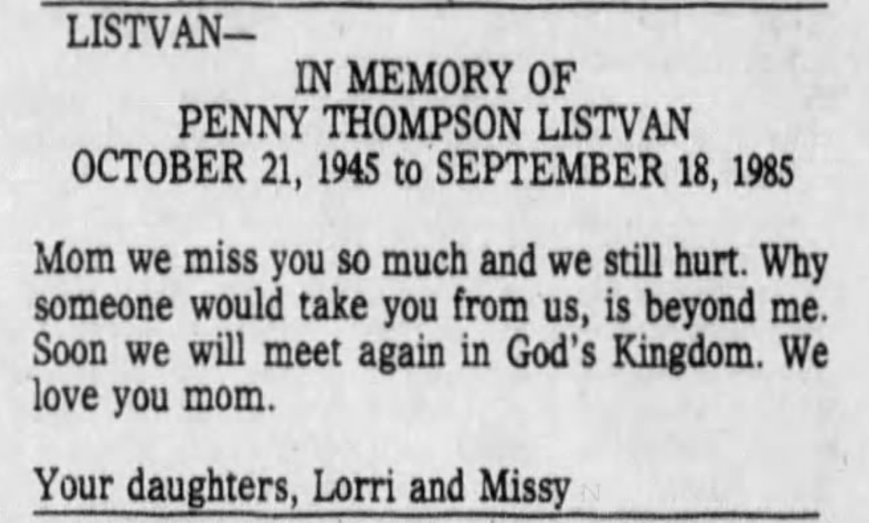 A Memoriam of Penny Listvan in the 21 Sep Albuquerque Journal to mark the 10th anniversary of her murder