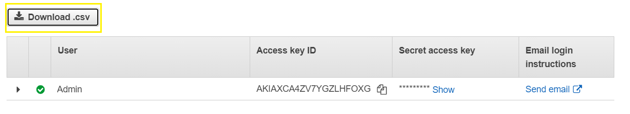 Screen displaying the button to download the.csv file containing the user's keys