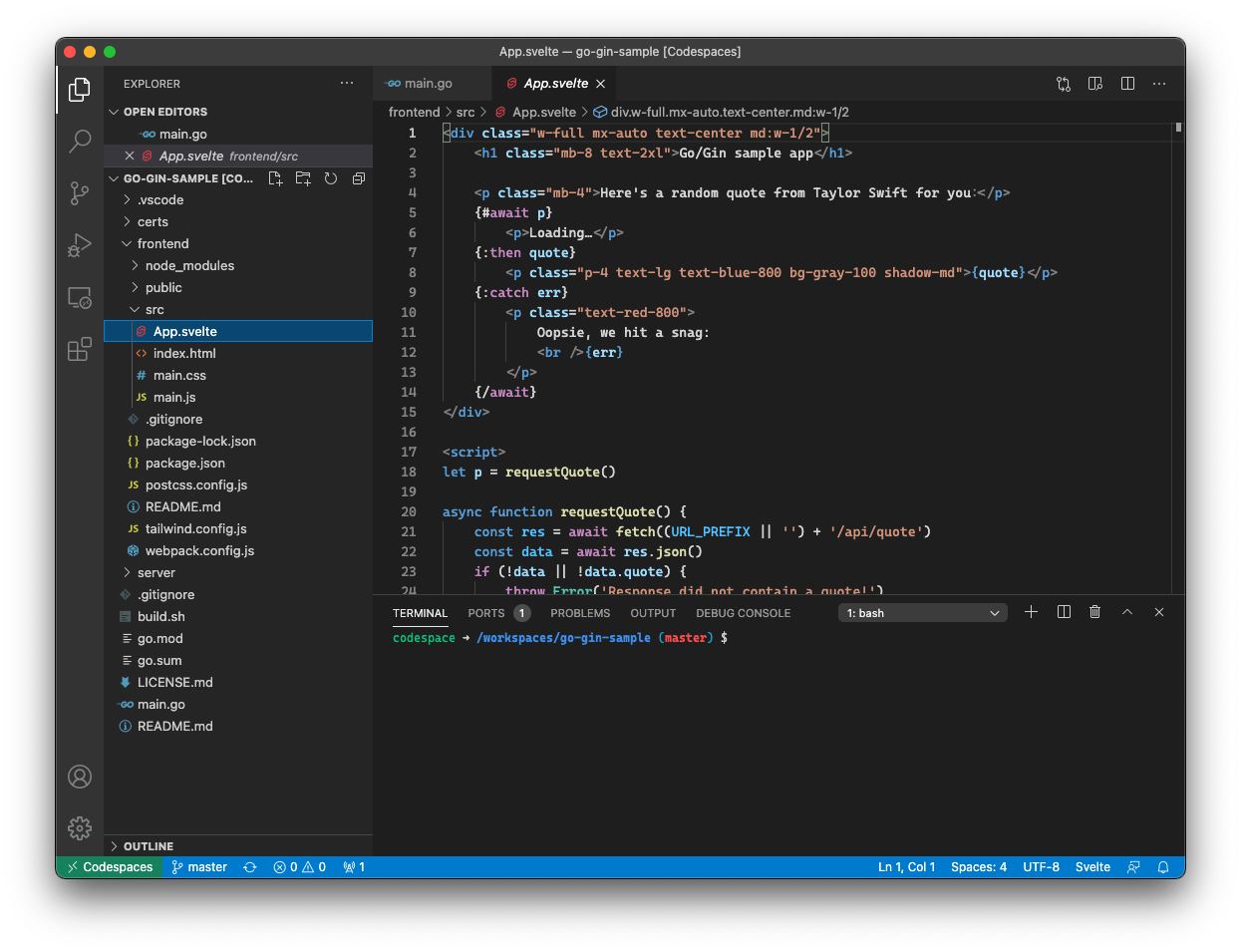 A codespace running in VS Code