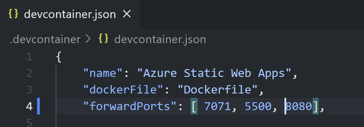 Contains a screenshot of devcontainer.json with the forwardPorts property containing a list of ports — [ 7071, 5500, 8080]