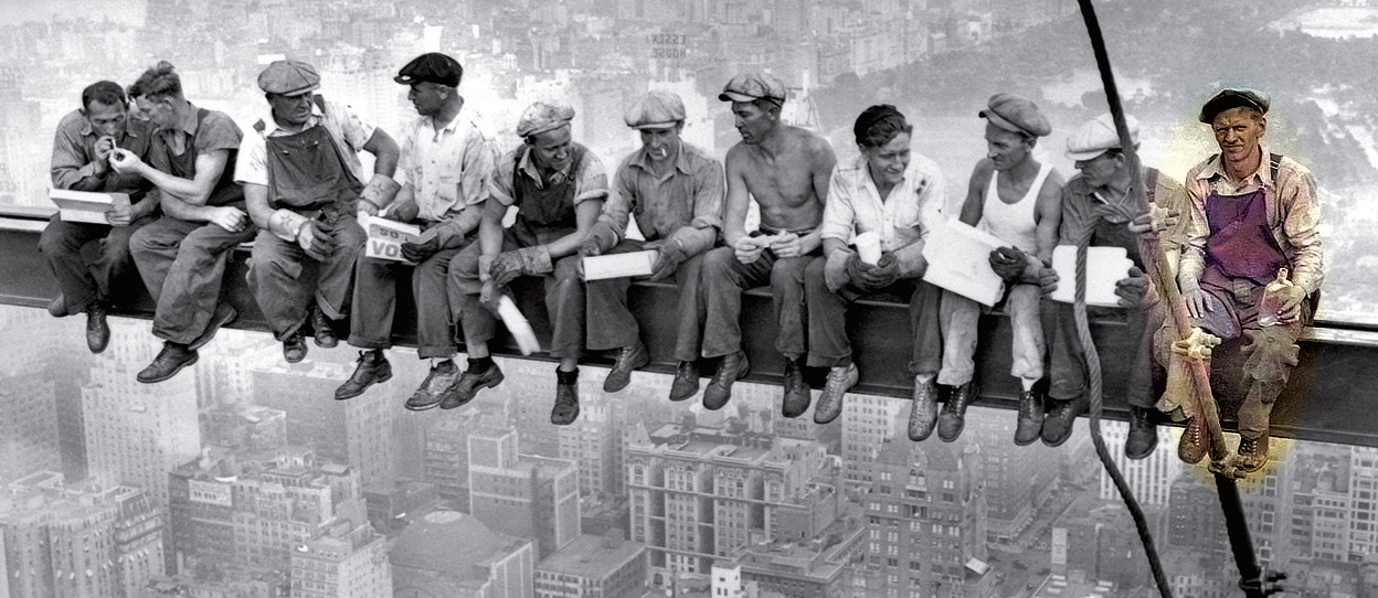 Eleven iron workers sitting 60 floors above New York City on a steel girder
