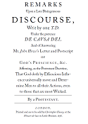 Remarks Upon a Late Disingenuous Discourse, title page