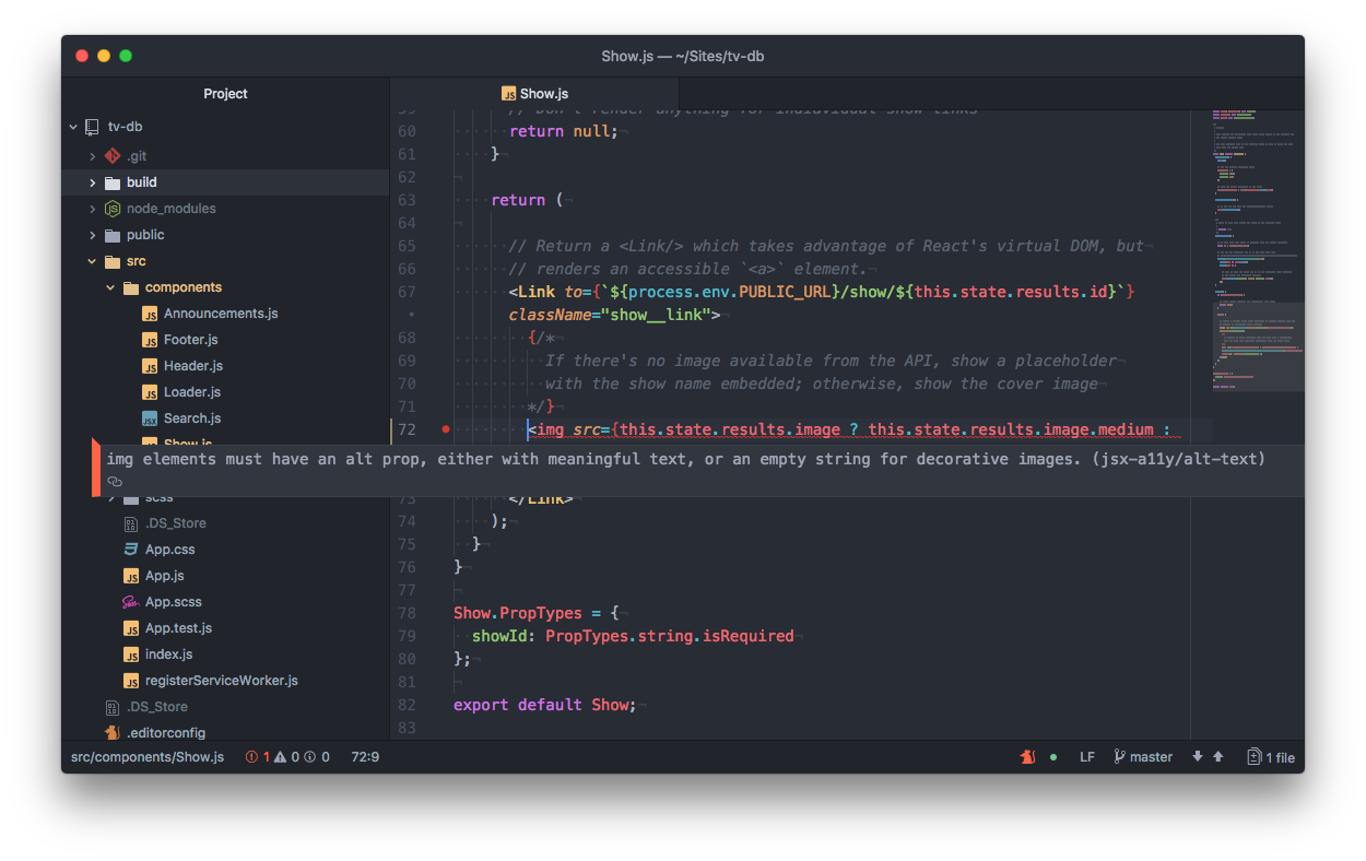 "Screen capture of Atom text editor. A warning message appears overtop of some code with the following message, ""img elements must have an alt prop, either with meaningful text, or an empty string for decorative images. (jsx-a11y/alt-text)"""
