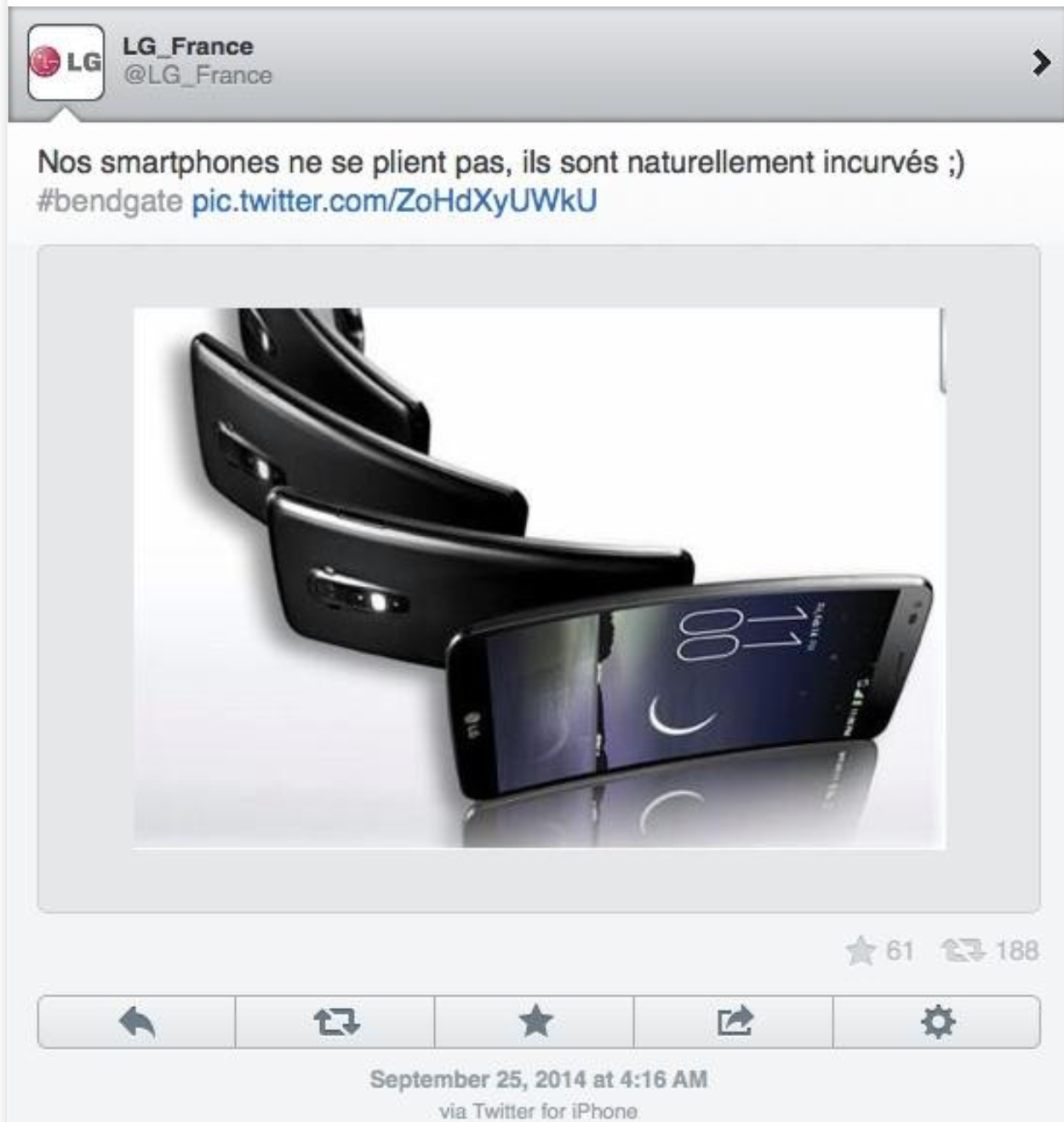 An LG ad tweeted by an iPhone