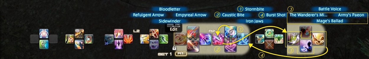 Image showing all 32 slots on my basic ability bar setup in Final Fantasy XIV