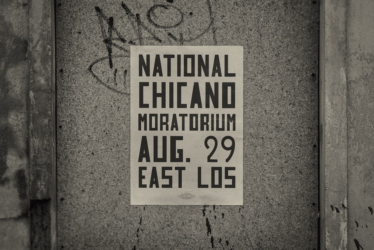 """A poster with the words """"National Chicano Moratorium, Aug. 29, East Los"""" in a large, block-y, sans-serif font."""
