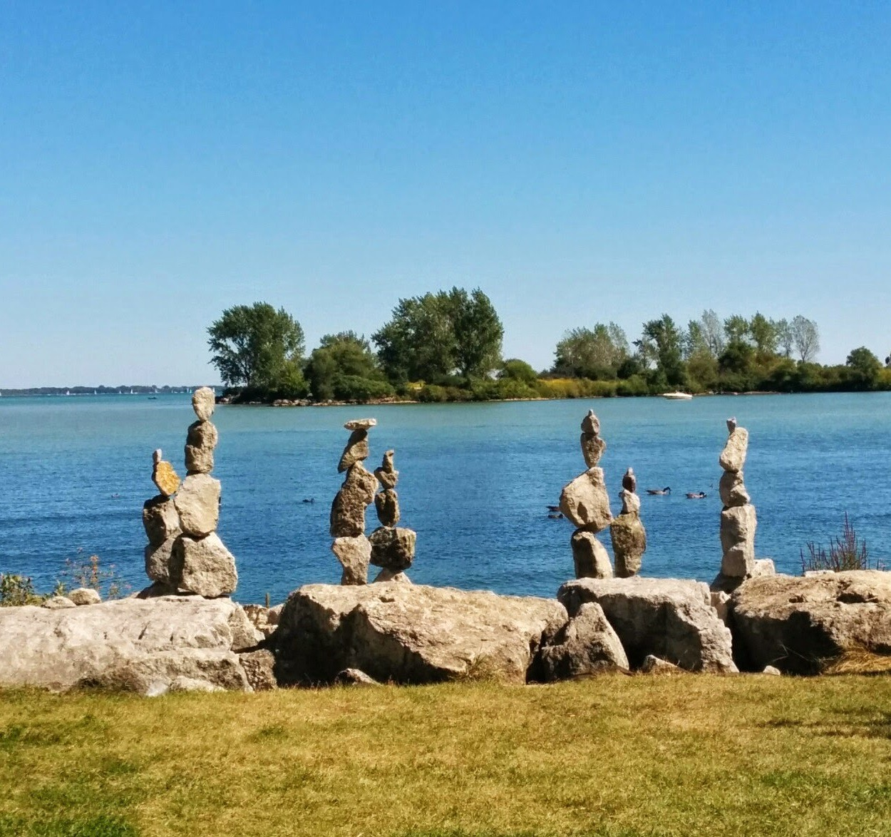 A picture of standing stones known as cairns.