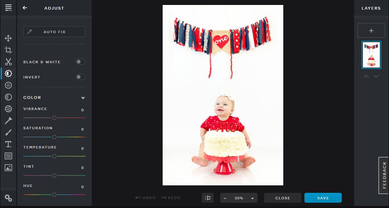 A screen shot of the Pixlr photo editing tool. The color correction tab displays adjustments for brightness, contrast, etc.