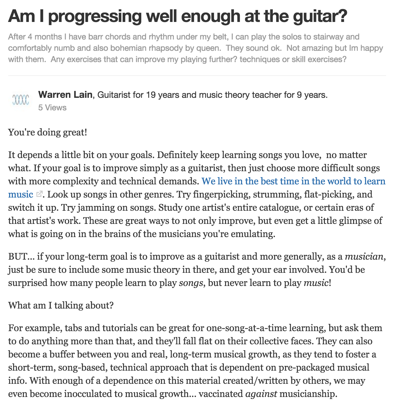 Are You Progressing Well Enough On the Guitar? - warrenmusic