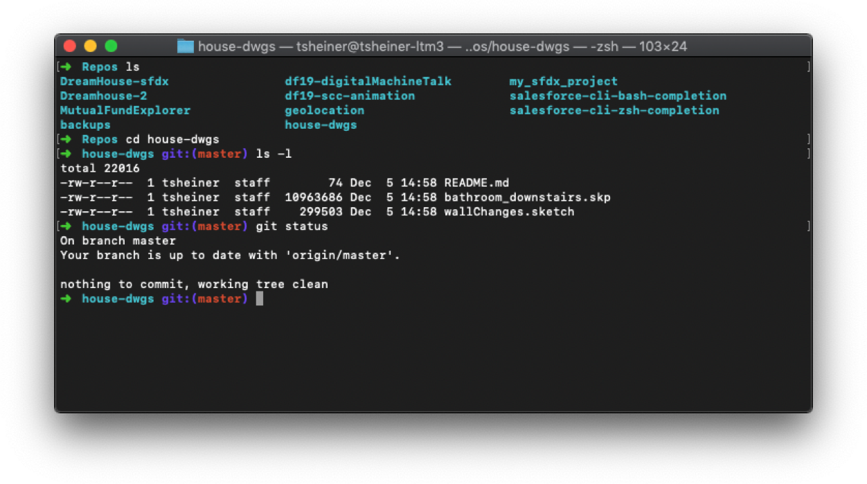 Git command line view of local version of same House-dwgs repoGit command line view of local version of same House-dwgs repo