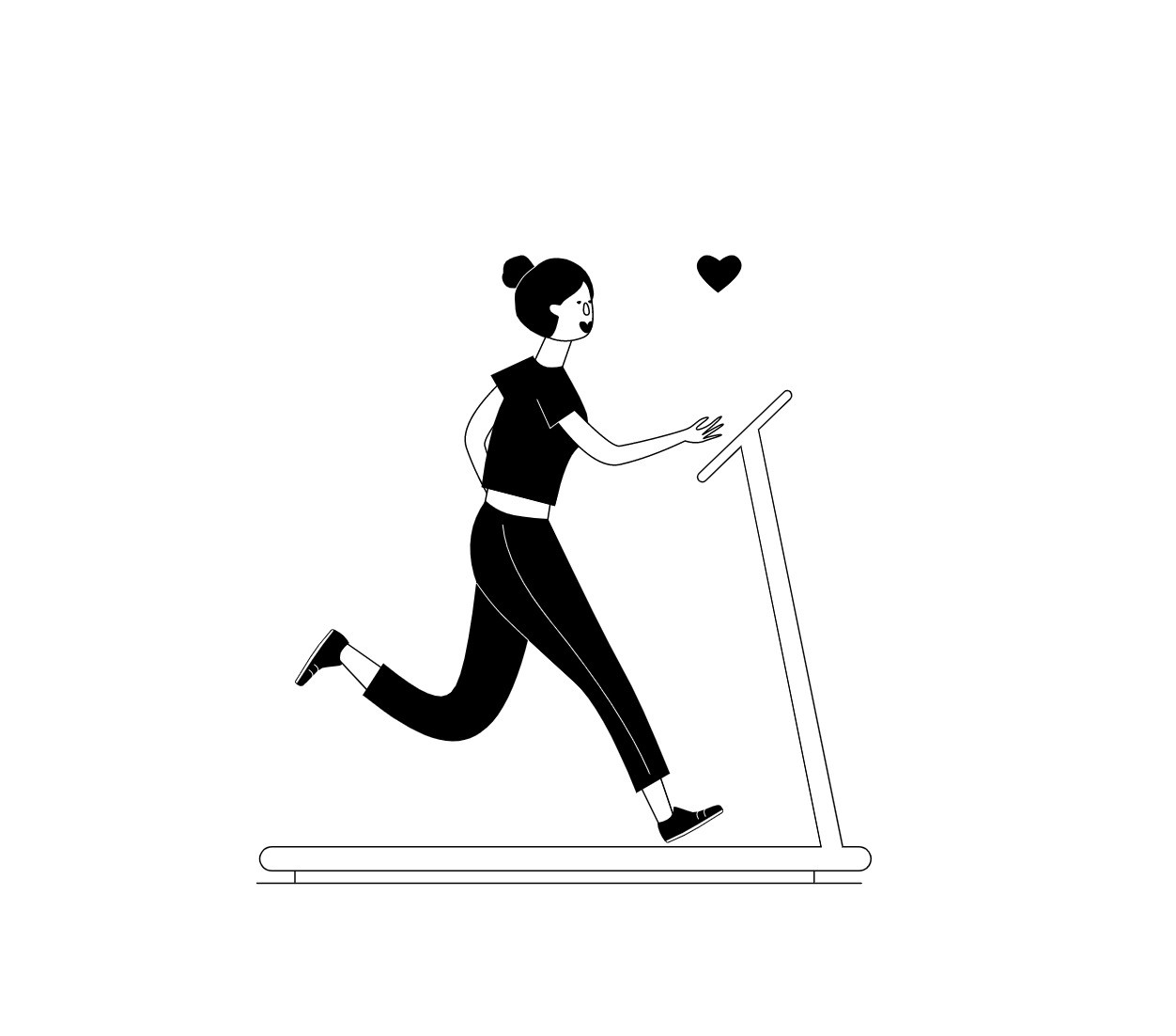 A happy woman running on a treadmill.