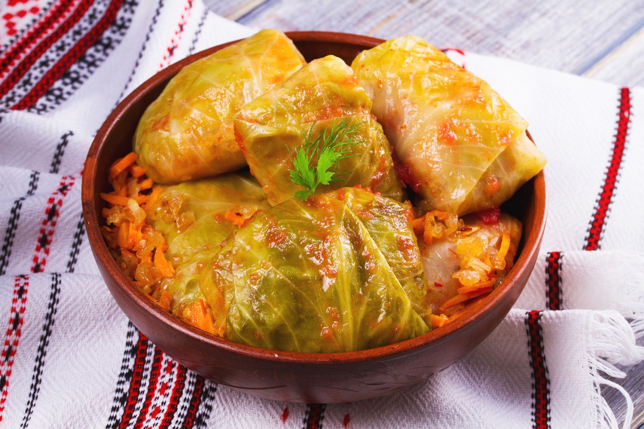 Cabbage rolls with meat, rice and vegetables. Stuffed cabbage leaves with meat. Dolma, sarma, sarmale, golubtsy or golabki —