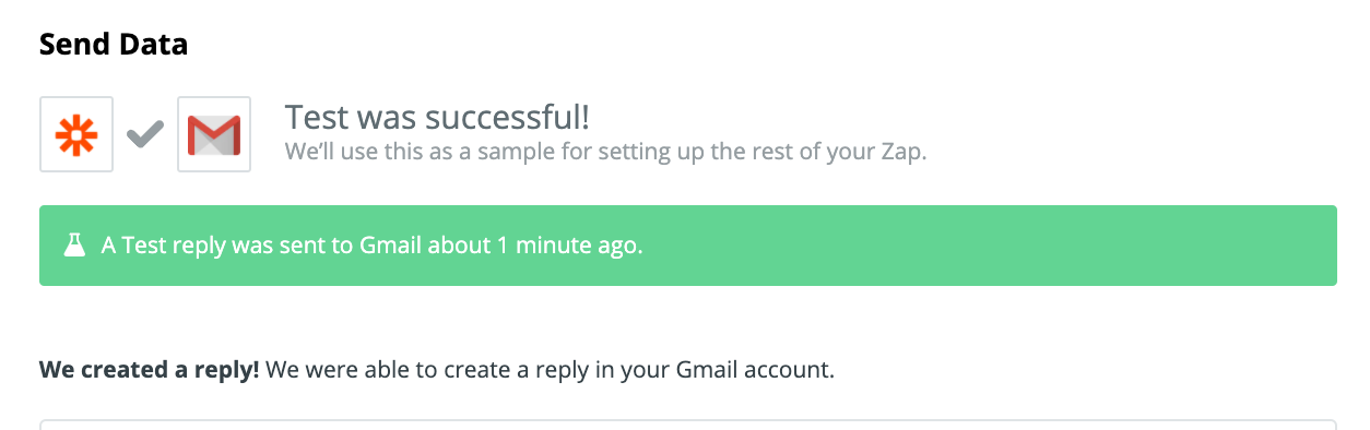 An automatic reply was generated successfully through Zapier to Gmail.
