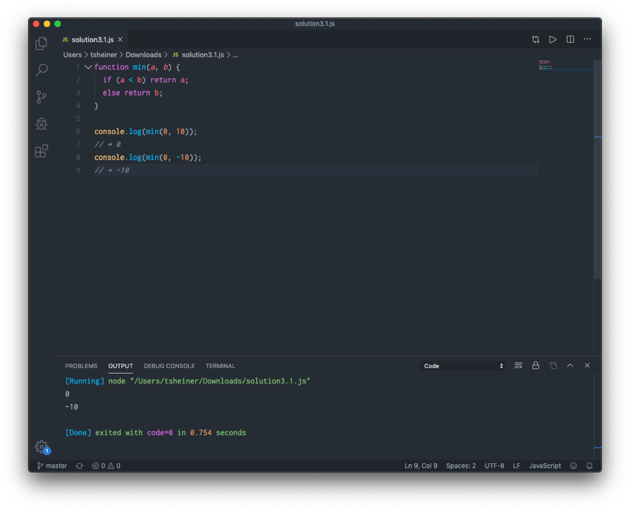 Exercise 3.1 from Eloquent Javascript in VSCode with Code Runner extension on Mac with Node installed.