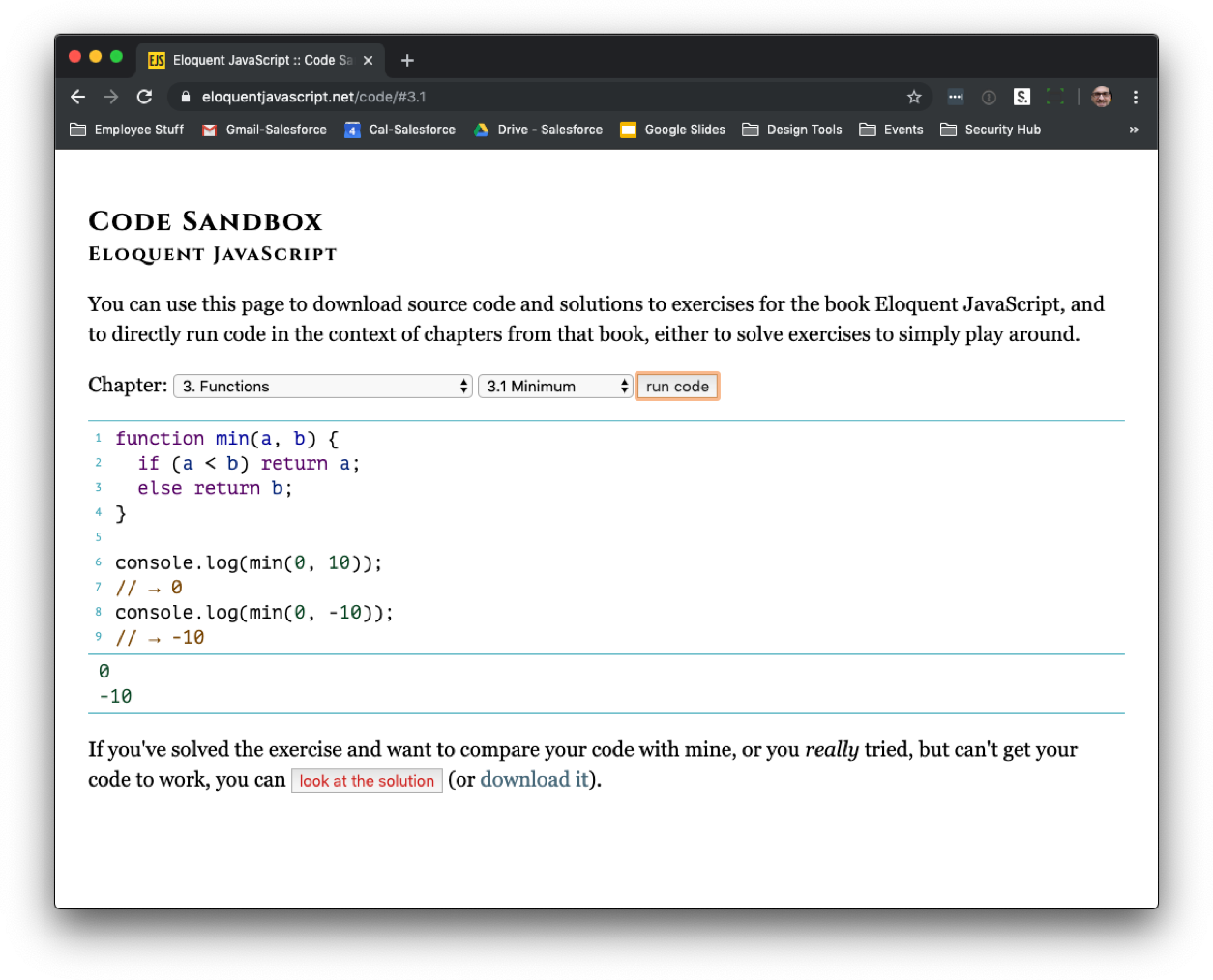 Excercise 3.1 from Eloquent Javascript in Haverbeke's online sandbox environment