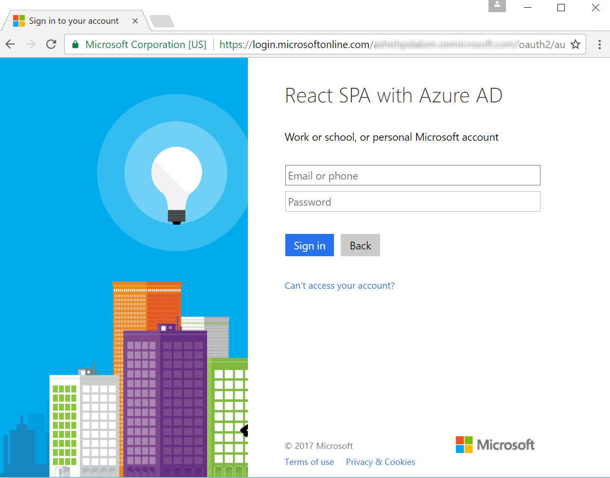 React (with Redux) App with Azure AD Auth and  Net Core