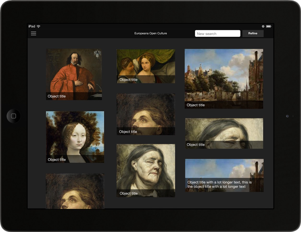 A high fidelity mockup of the search results page, showing a masonry view of images with the paintings title underneath.