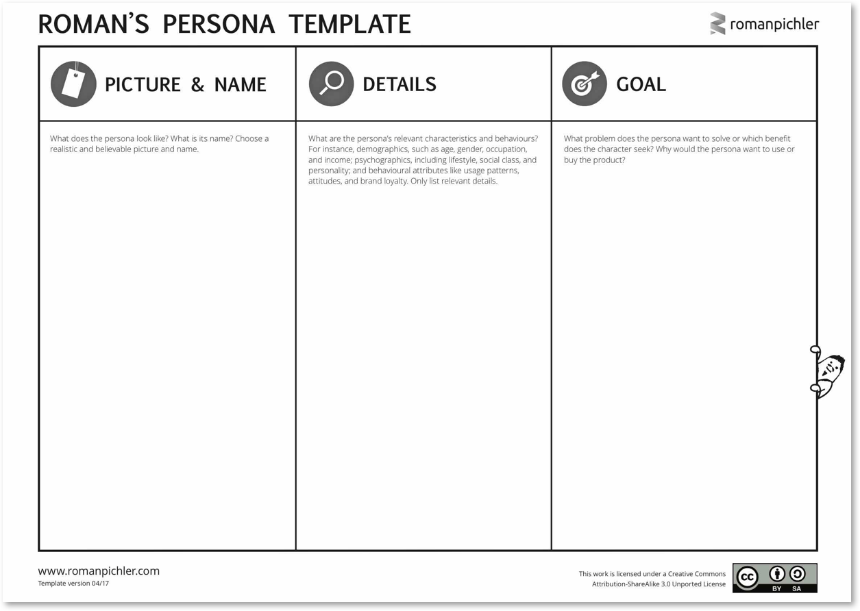 Template for creating agile Personas