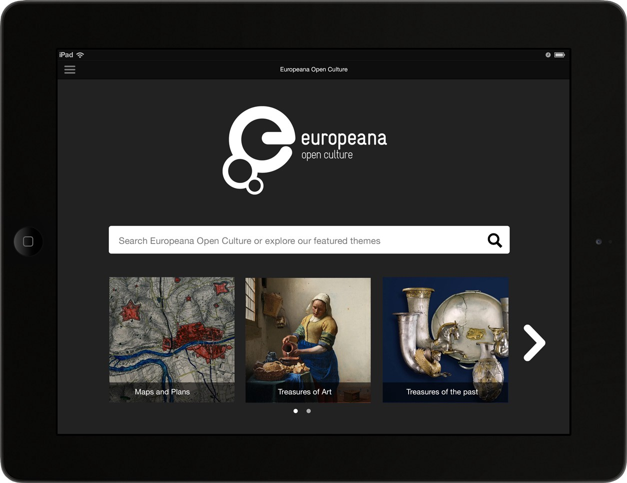 The landing page of the Europeana Open Culture app.