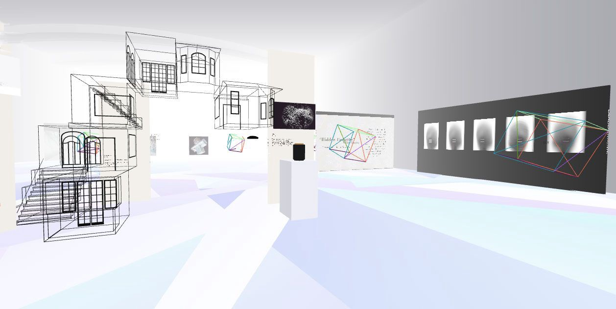 A virtual recreation of Gray Area's Grand Theatre. The artwork Place 1 by Kaii Tu is featured, a wire-frame home design