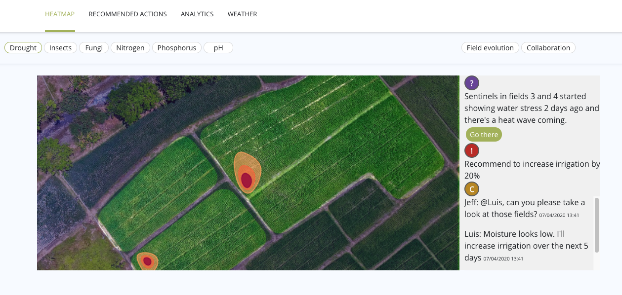 The InnerPlant heat map shows a field of crops with color-coded threat zones.