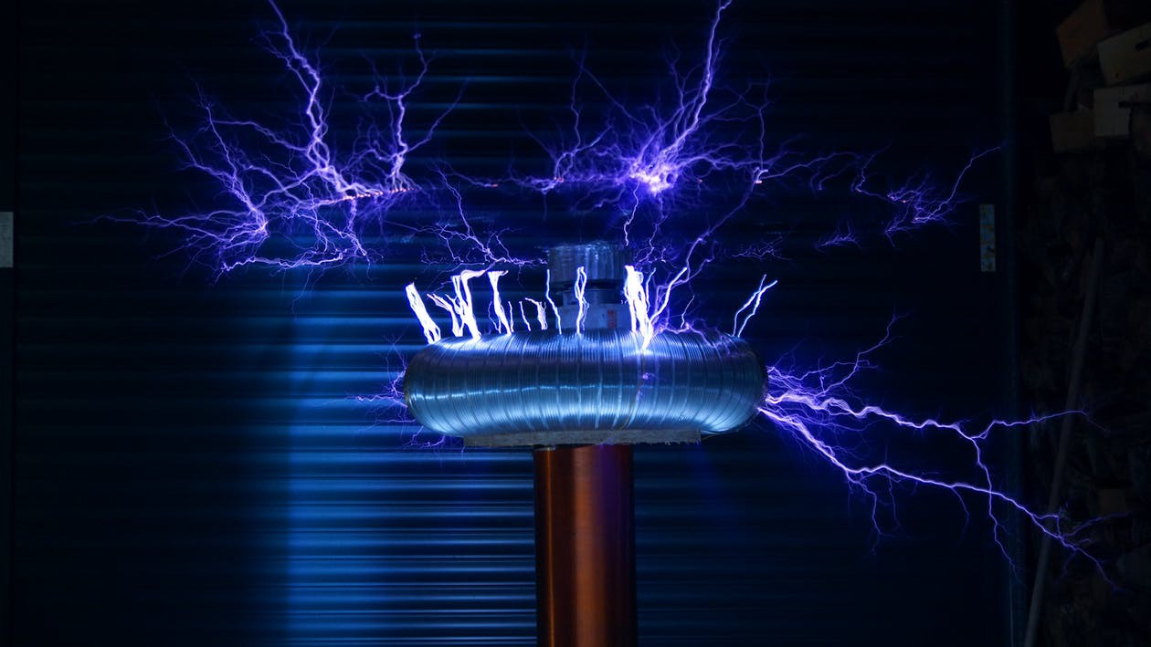 Blue metal tool sparking electricity