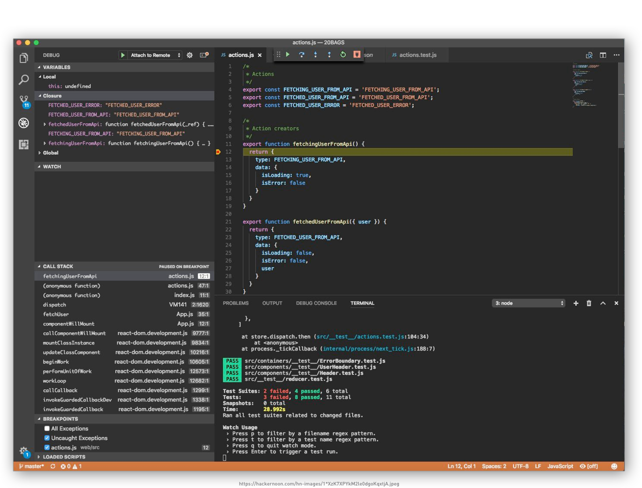 Programmatic debugger showing method calls, call stack, breakpoint & unit test results