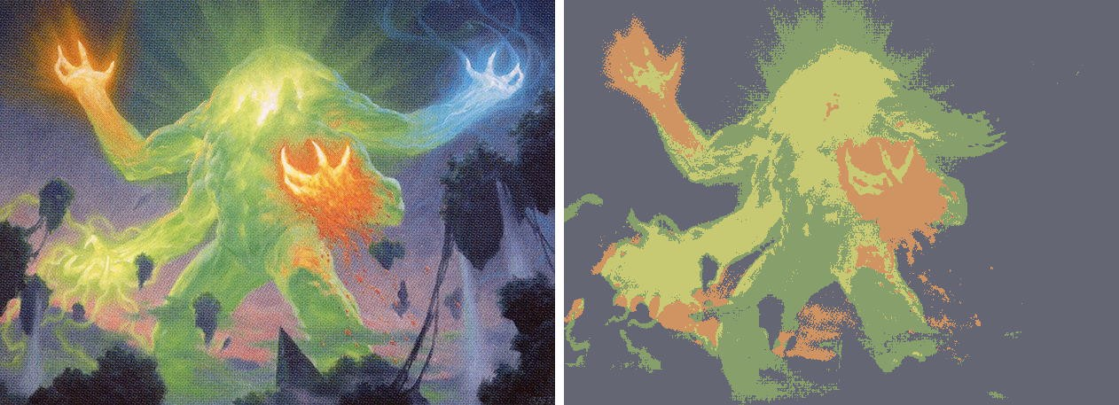 On the left, the original art for Omnath, Locus of Creation. On the right, the same artwork reduced to only 4 colors.