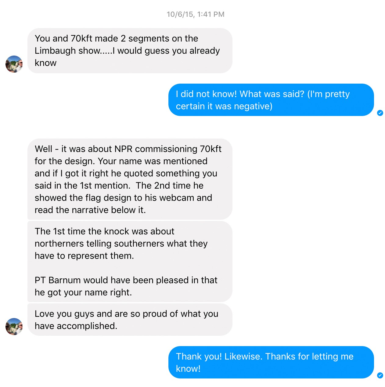 Screen shot of a Facebook messenger exchange, letting Gus know that Rush Limbaugh is talking about the project on his program