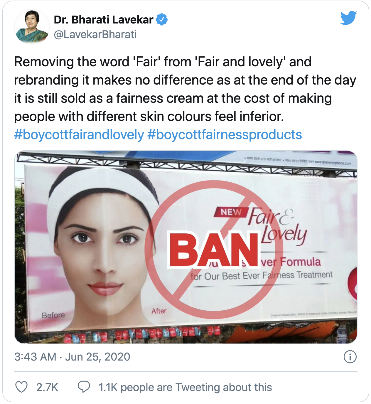 A tweet saying: Removing the word 'Fair' from 'Fair and lovely' and rebranding it makes no difference as at the end of the da