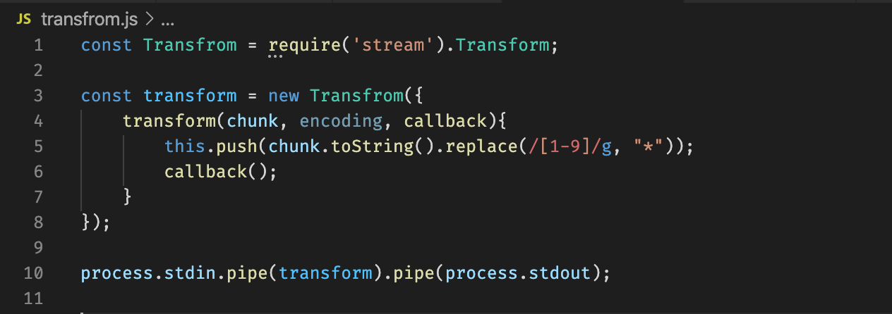 Simple transform stream to convert numbers of a string