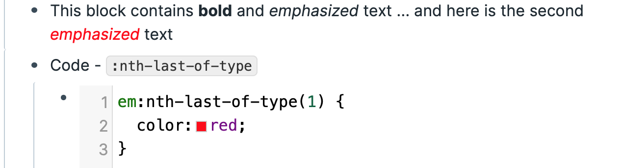 CSS code showing the use of:nth-last-of-type